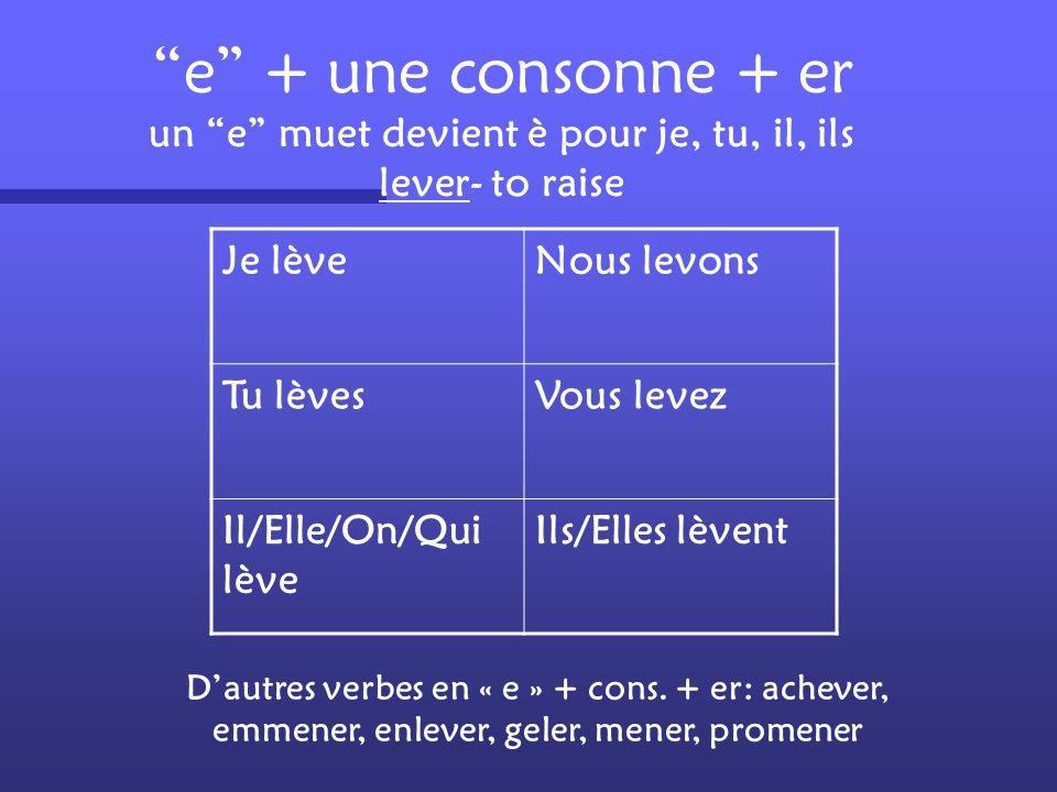 """Les verbes en –yer """"y"""" devient """"i"""" avant un """"e"""" muet employer- to use J'emploieNous employons Tu emploiesVous employez Il/Elle/On/Qui emploie Ils/Elle"""