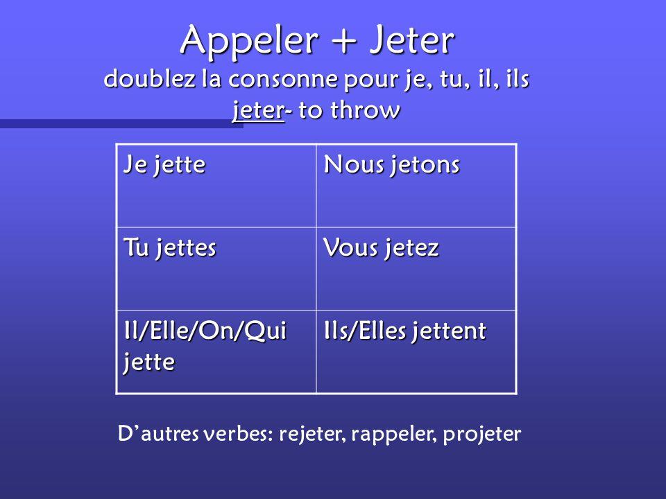 """""""e"""" + une consonne + er un """"e"""" muet devient è pour je, tu, il, ils lever- to raise Je lèveNous levons Tu lèvesVous levez Il/Elle/On/Qui lève Ils/Elles"""