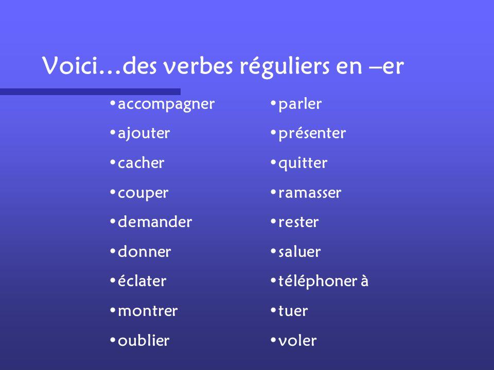 Les verbes   Il y a trois types de verbes réguliers:   verbes en -er   verbes en -ir   verbes en -re