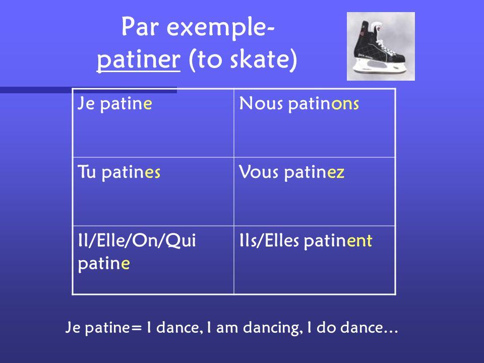 Je patineNous patinons Tu patinesVous patinez Il/Elle/On/Qui patine Ils/Elles patinent Je patine= I dance, I am dancing, I do dance… Par exemple- patiner (to skate)