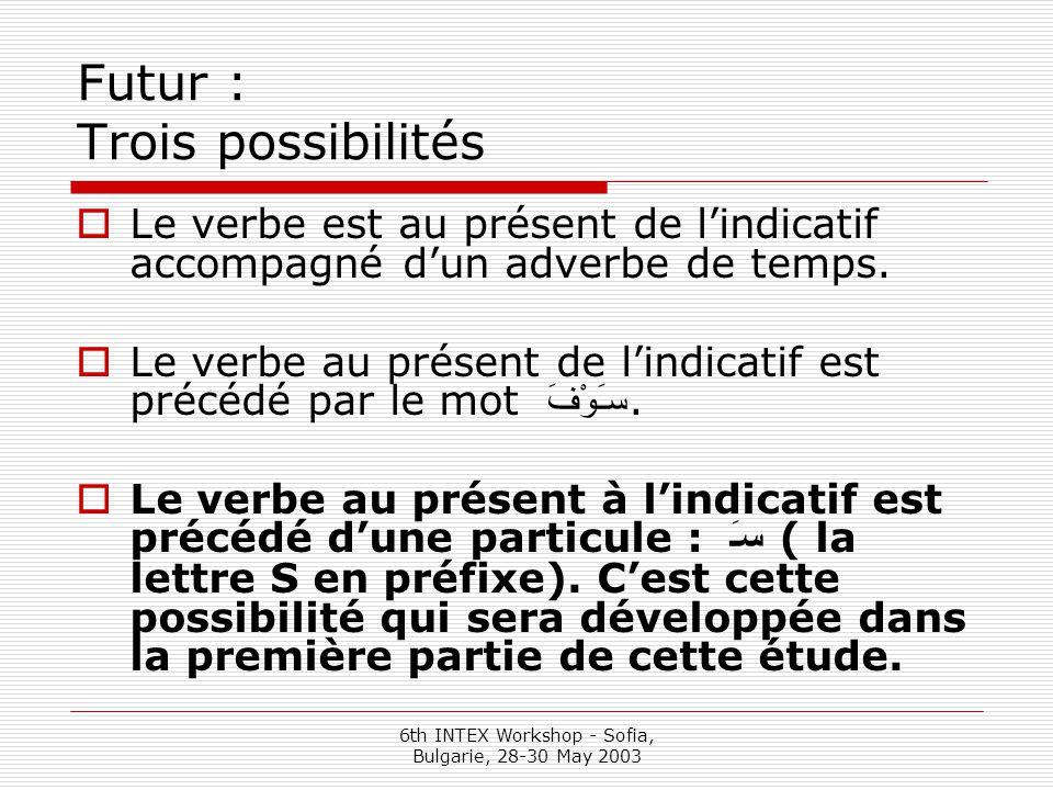 6th INTEX Workshop - Sofia, Bulgarie, 28-30 May 2003 Futur : Trois possibilités  Le verbe est au présent de l'indicatif accompagné d'un adverbe de temps.