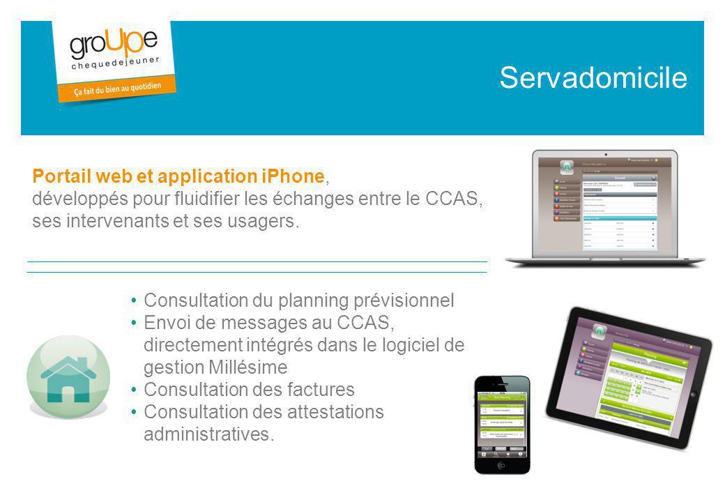 Consultation du planning prévisionnel Envoi de messages au CCAS, directement intégrés dans le logiciel de gestion Millésime Consultation des factures Consultation des attestations administratives.