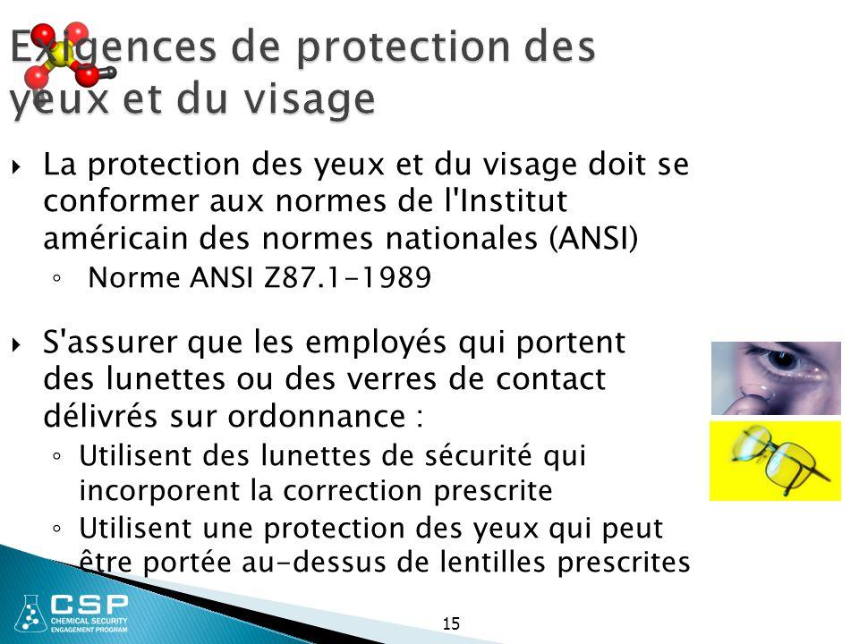 Exigences de protection des yeux et du visage  La protection des yeux et du visage doit se conformer aux normes de l'Institut américain des normes na