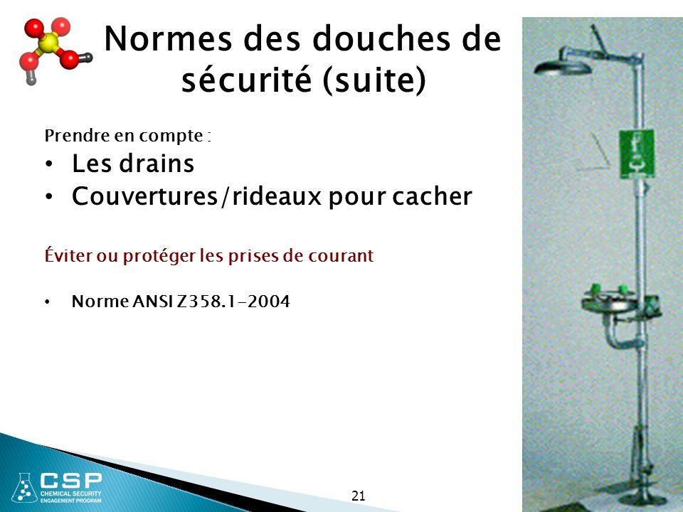 Normes des douches de sécurité (suite) Prendre en compte : Les drains Couvertures/rideaux pour cacher Éviter ou protéger les prises de courant Norme A