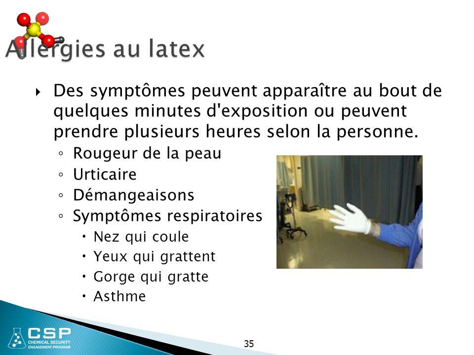 Allergies au latex  Des symptômes peuvent apparaître au bout de quelques minutes d'exposition ou peuvent prendre plusieurs heures selon la personne.