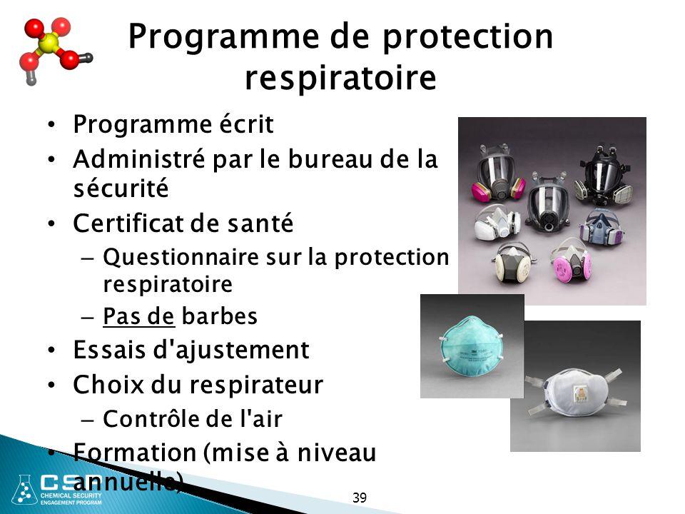 Programme de protection respiratoire Programme écrit Administré par le bureau de la sécurité Certificat de santé – Questionnaire sur la protection res
