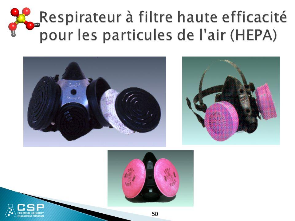 Respirateur à filtre haute efficacité pour les particules de l'air (HEPA) 50