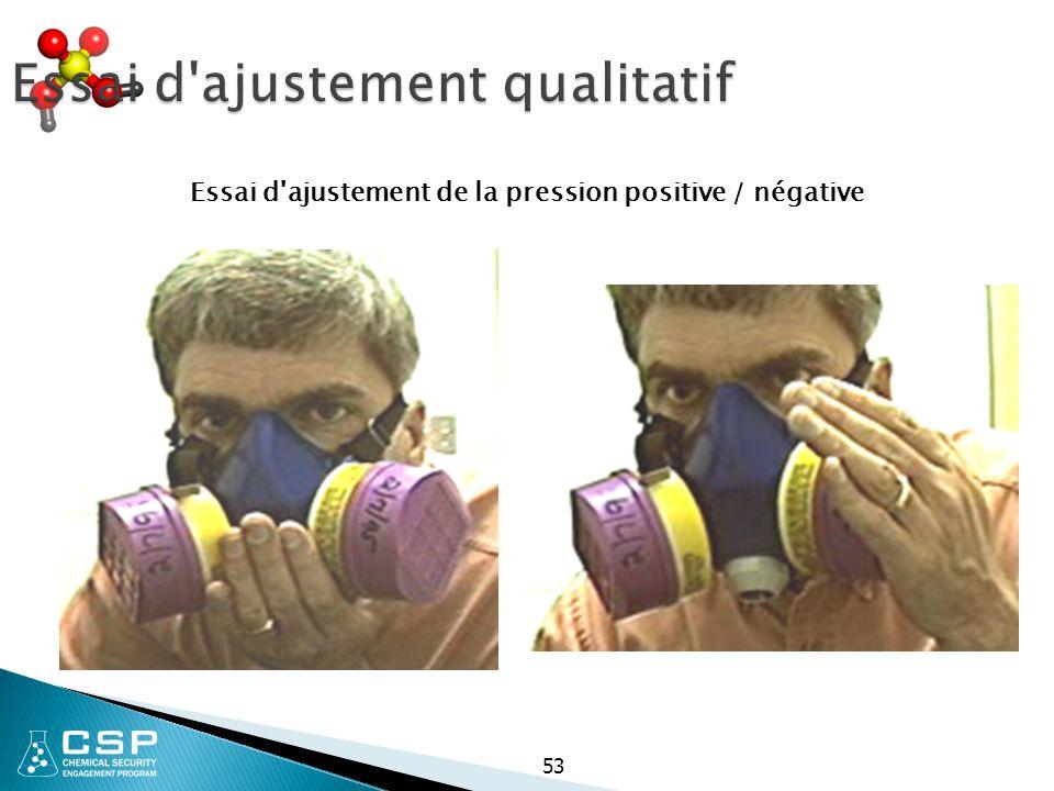 Essai d'ajustement qualitatif Essai d'ajustement de la pression positive / négative 53