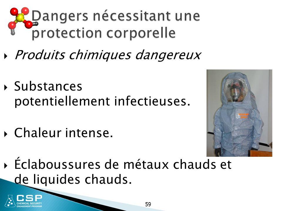 Dangers nécessitant une protection corporelle  Produits chimiques dangereux  Substances potentiellement infectieuses.  Chaleur intense.  Éclabouss