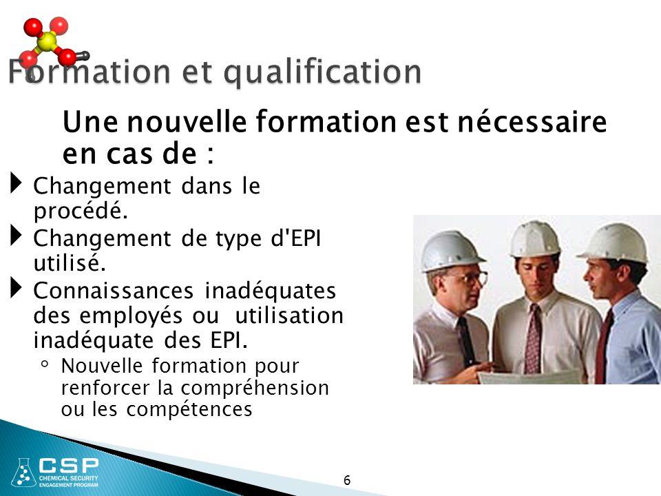Formation et qualification  Changement dans le procédé.  Changement de type d'EPI utilisé.  Connaissances inadéquates des employés ou utilisation i