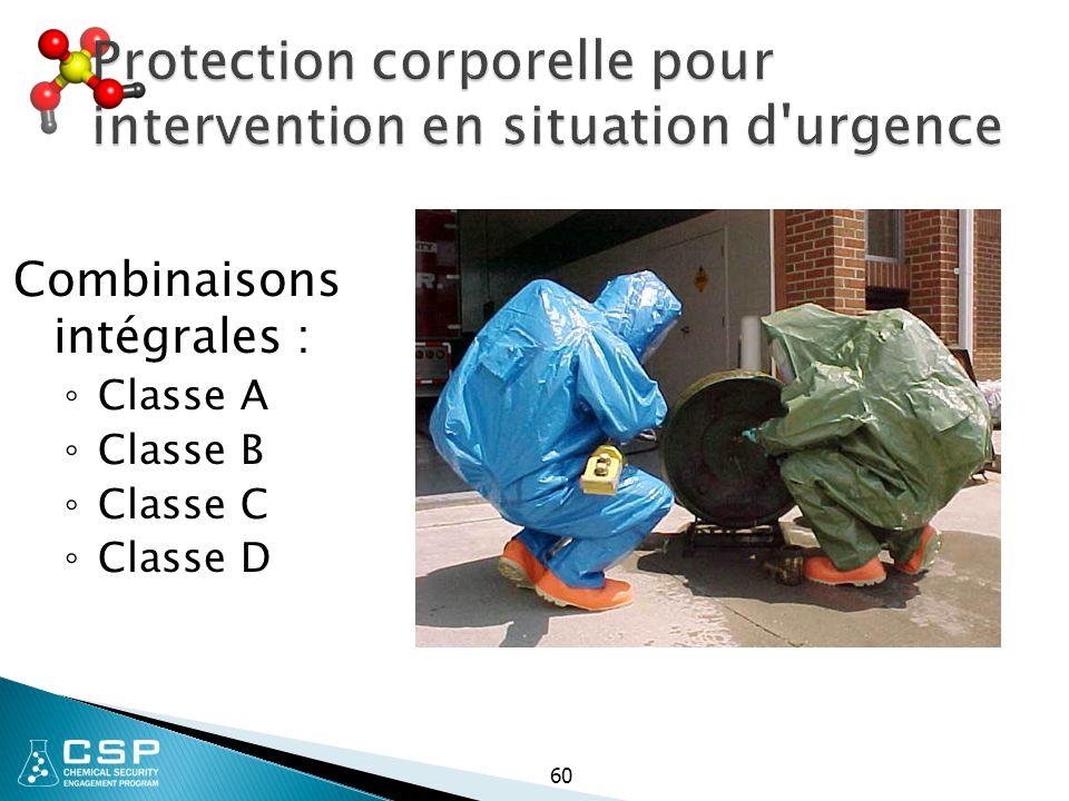 Protection corporelle pour intervention en situation d'urgence Combinaisons intégrales : ◦ Classe A ◦ Classe B ◦ Classe C ◦ Classe D 60
