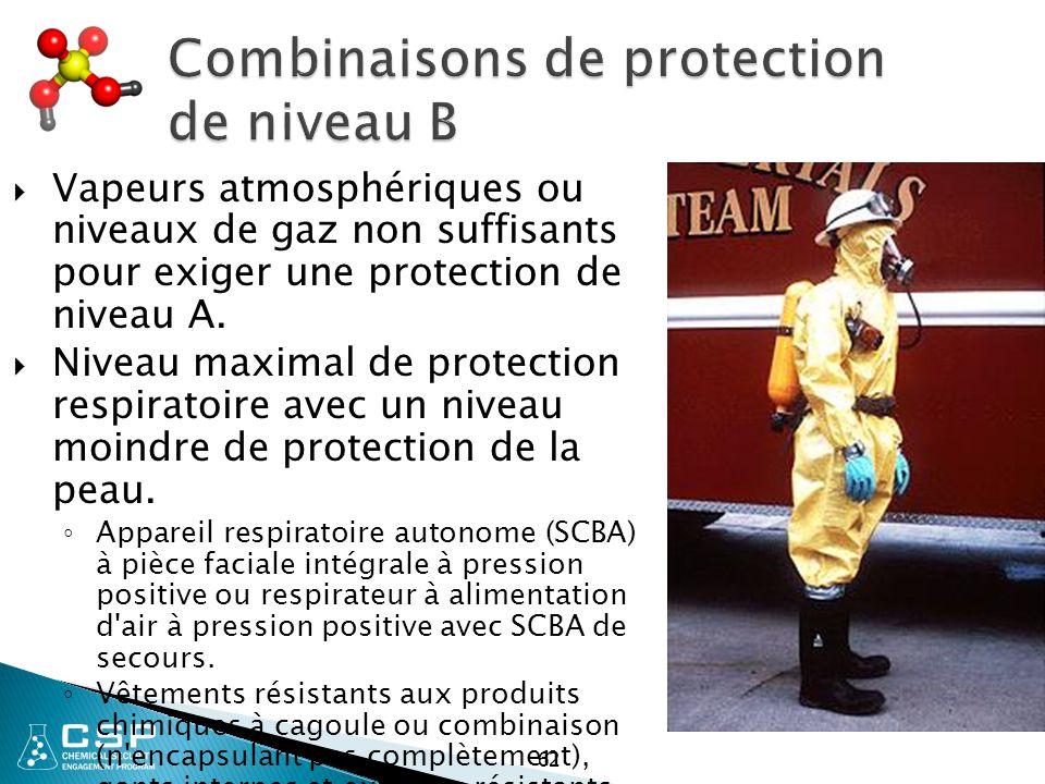 Combinaisons de protection de niveau B  Vapeurs atmosphériques ou niveaux de gaz non suffisants pour exiger une protection de niveau A.  Niveau maxi