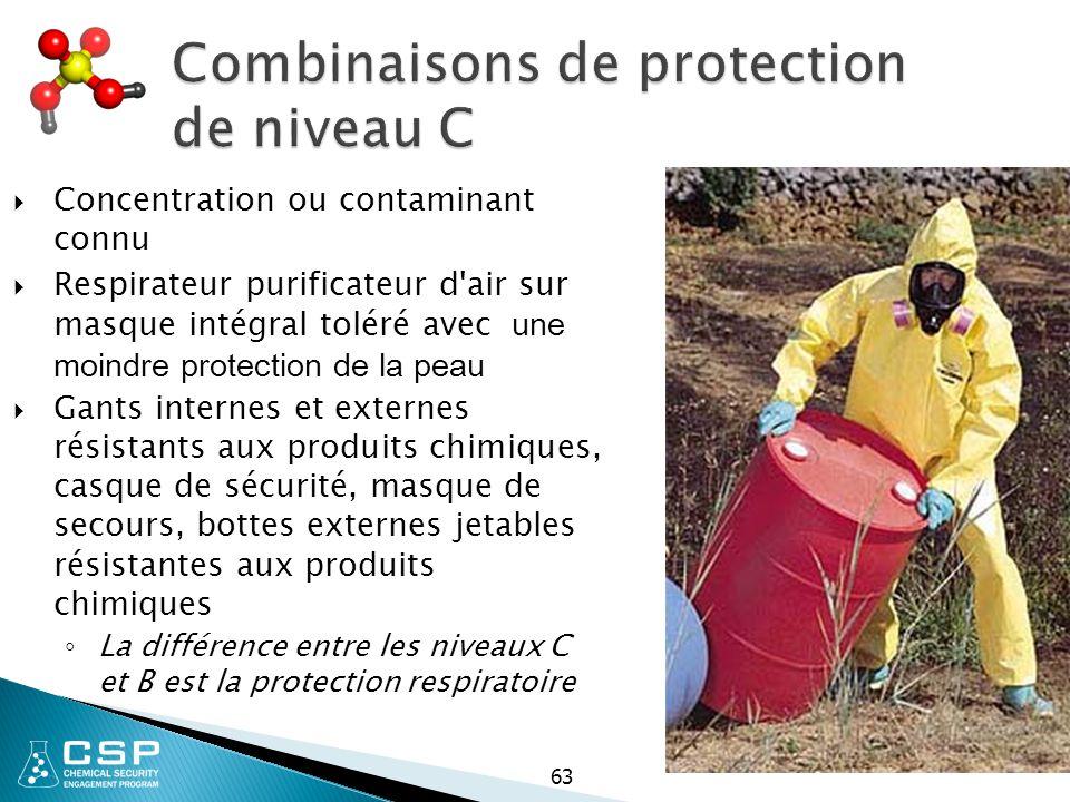 Combinaisons de protection de niveau C  Concentration ou contaminant connu  Respirateur purificateur d'air sur masque intégral toléré avec une moind