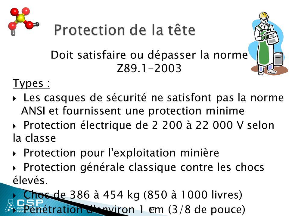 Protection de la tête Doit satisfaire ou dépasser la norme Z89.1-2003 Types :  Les casques de sécurité ne satisfont pas la norme ANSI et fournissent