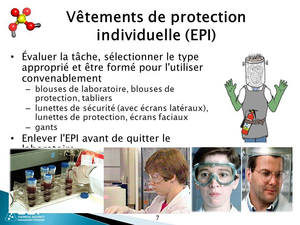 Vêtements de protection individuelle (EPI) Évaluer la tâche, sélectionner le type approprié et être formé pour l'utiliser convenablement – blouses de