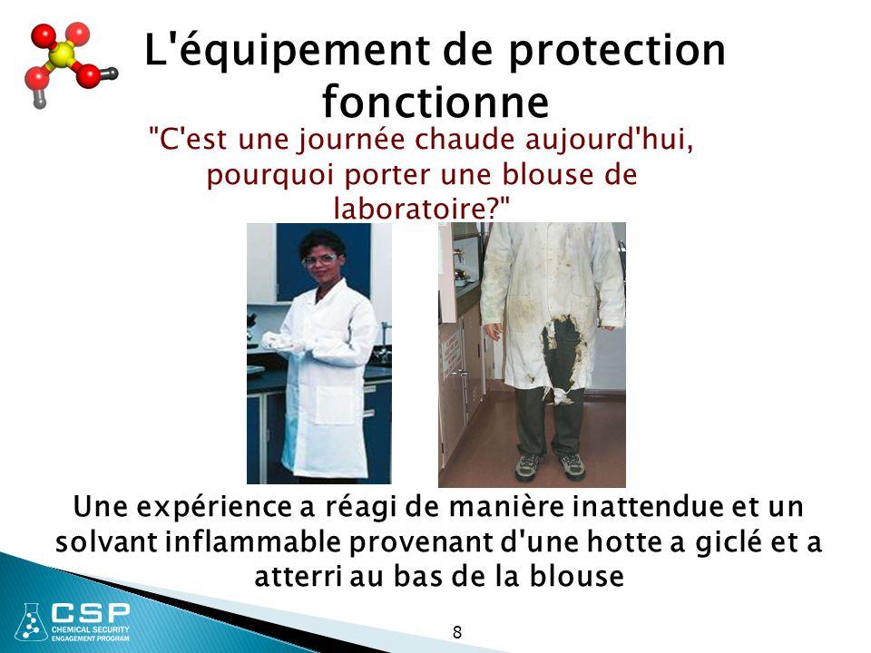 L'équipement de protection fonctionne Une expérience a réagi de manière inattendue et un solvant inflammable provenant d'une hotte a giclé et a atterr