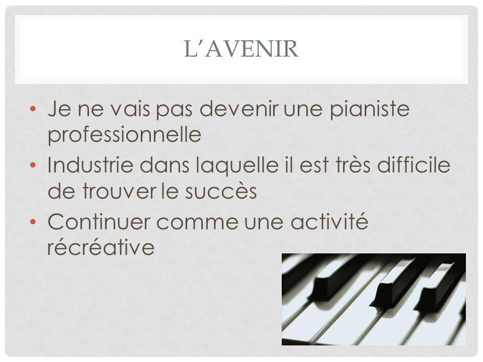 L'AVENIR Je ne vais pas devenir une pianiste professionnelle Industrie dans laquelle il est très difficile de trouver le succès Continuer comme une ac