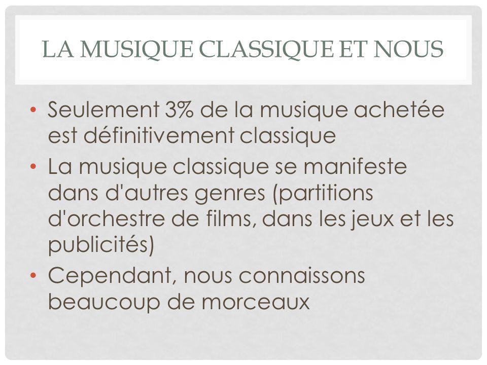 LA MUSIQUE CLASSIQUE ET NOUS Seulement 3% de la musique achetée est définitivement classique La musique classique se manifeste dans d autres genres (partitions d orchestre de films, dans les jeux et les publicités) Cependant, nous connaissons beaucoup de morceaux