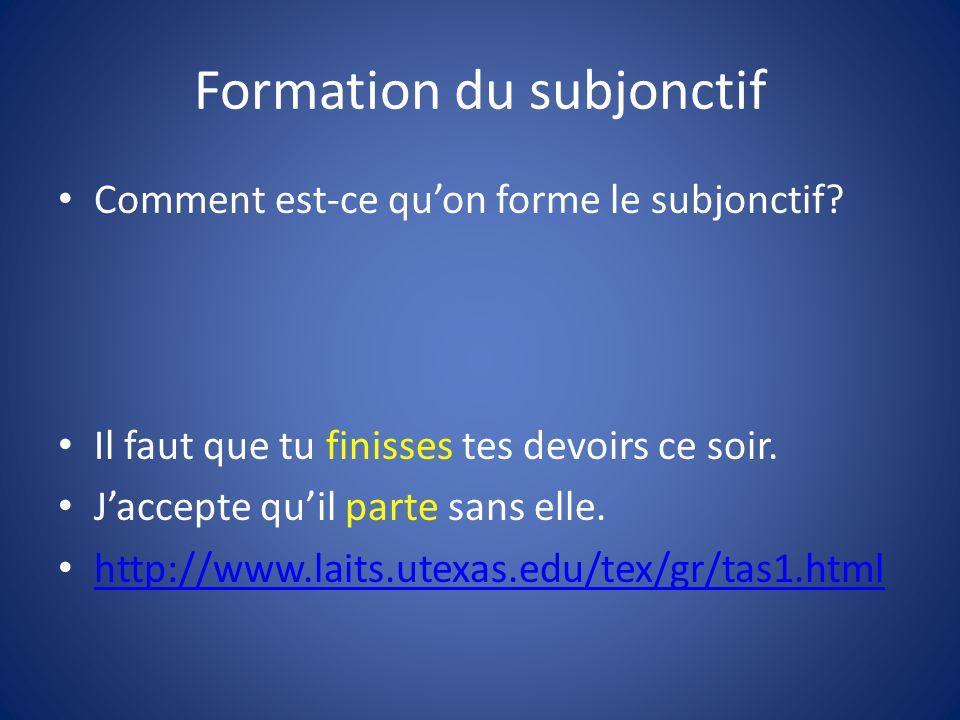 Formation du subjonctif Comment est-ce qu'on forme le subjonctif.