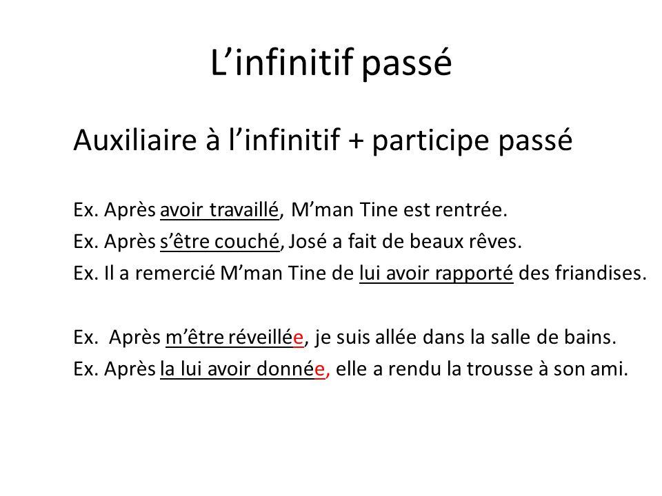 L'infinitif passé Auxiliaire à l'infinitif + participe passé Ex.