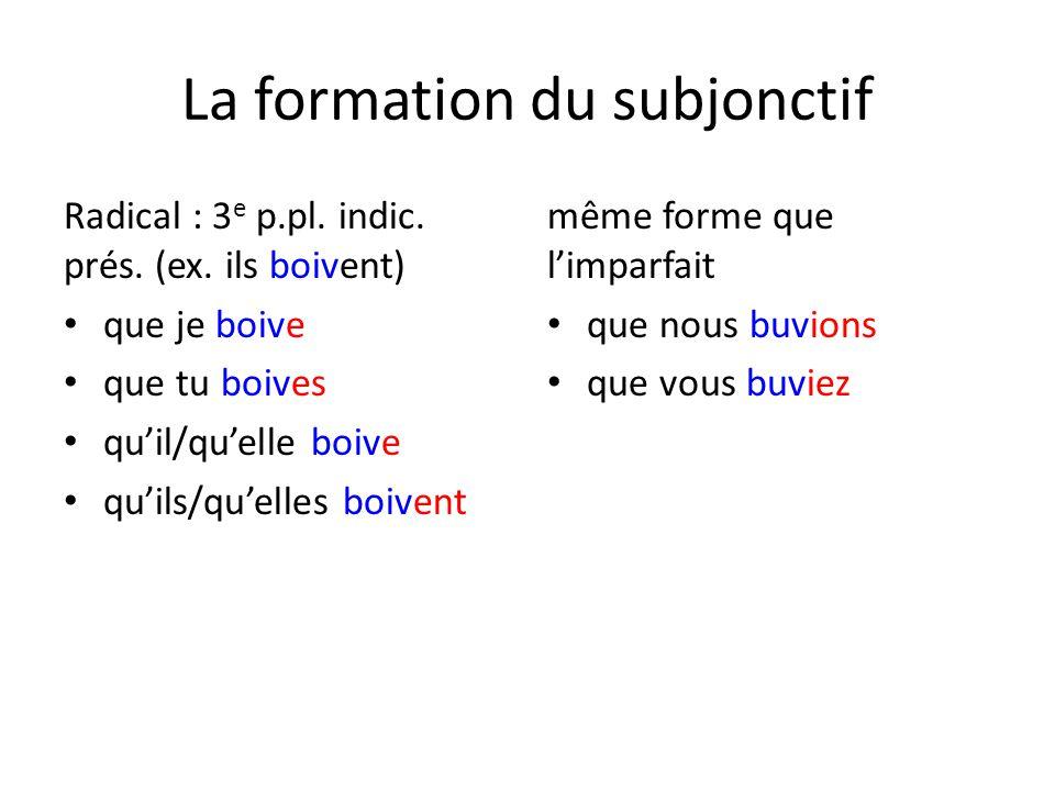La formation du subjonctif Radical : 3 e p.pl.indic.