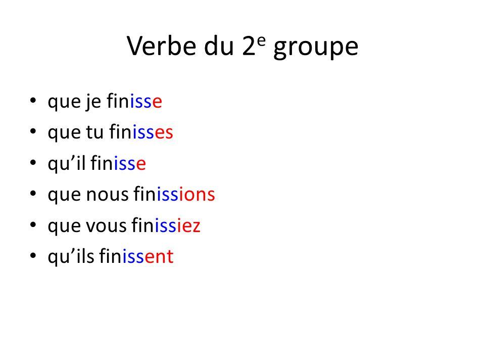 Verbe du 2 e groupe que je finisse que tu finisses qu'il finisse que nous finissions que vous finissiez qu'ils finissent