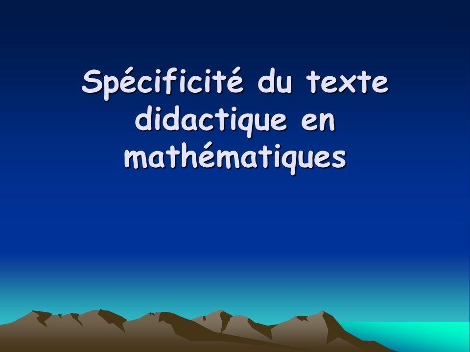 Spécificité du texte didactique en mathématiques
