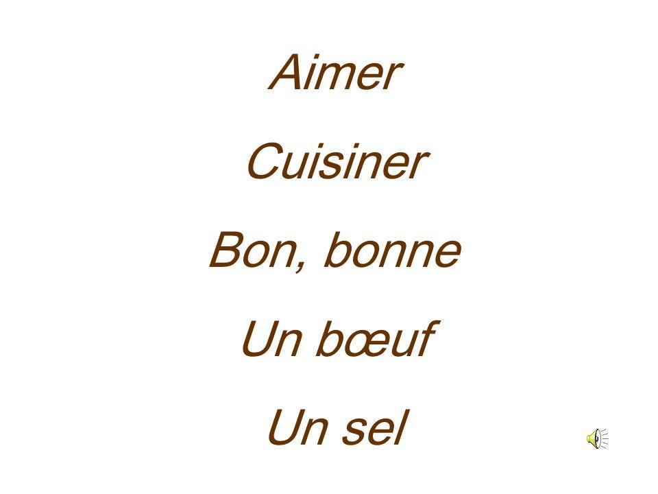 Aimer Cuisiner Bon, bonne Un bœuf Un sel