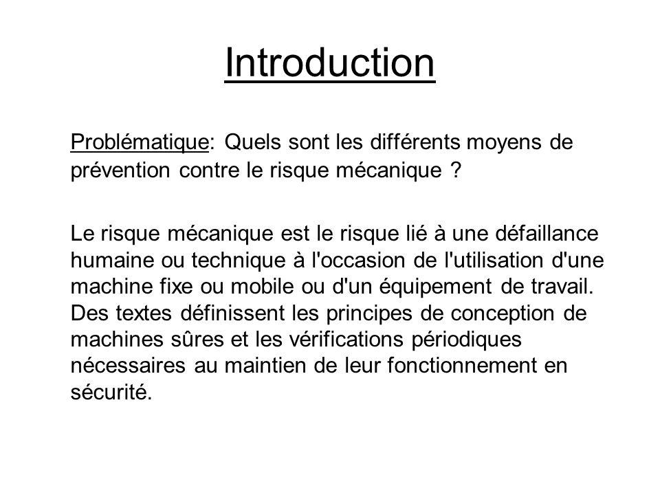 Introduction Problématique: Quels sont les différents moyens de prévention contre le risque mécanique ? Le risque mécanique est le risque lié à une dé