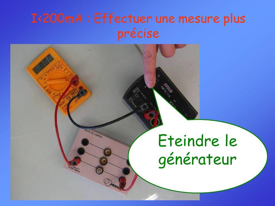 Eteindre le générateur I<200mA : Effectuer une mesure plus précise