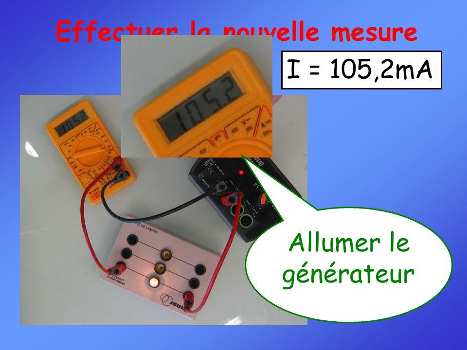 Effectuer la nouvelle mesure Allumer le générateur I = 105,2mA
