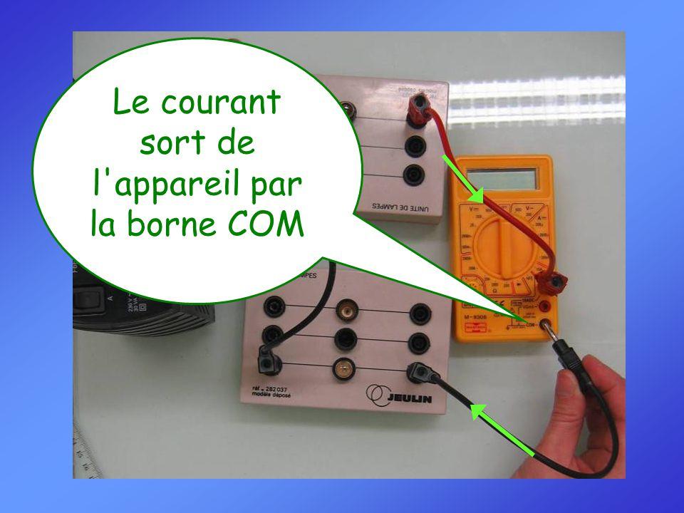 Le courant sort de l appareil par la borne COM