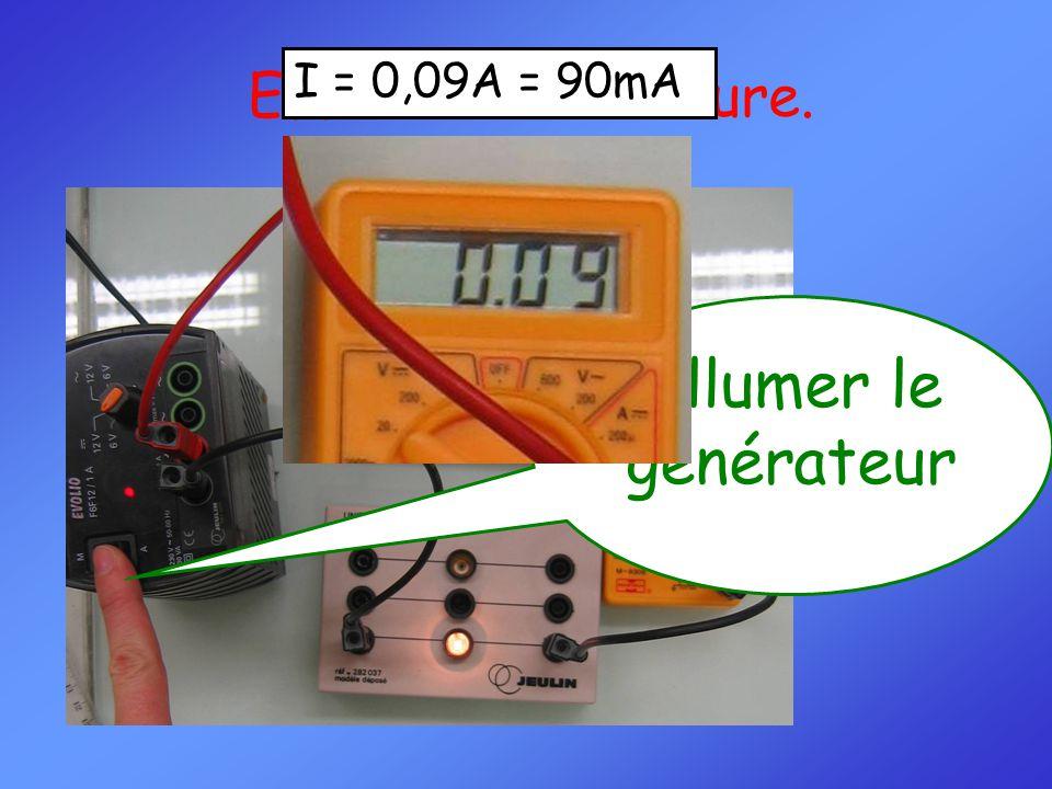 Effectuer la mesure. Allumer le générateur I = 0,09A = 90mA