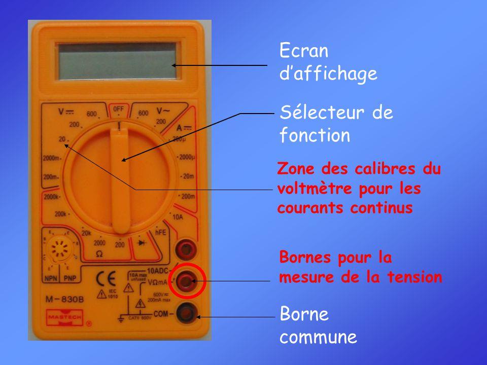 Sélecteur de fonction Zone des calibres du voltmètre pour les courants continus Borne commune Bornes pour la mesure de la tension Ecran d'affichage