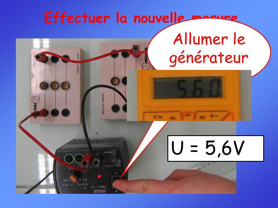 Effectuer la nouvelle mesure Allumer le générateur U = 5,6V