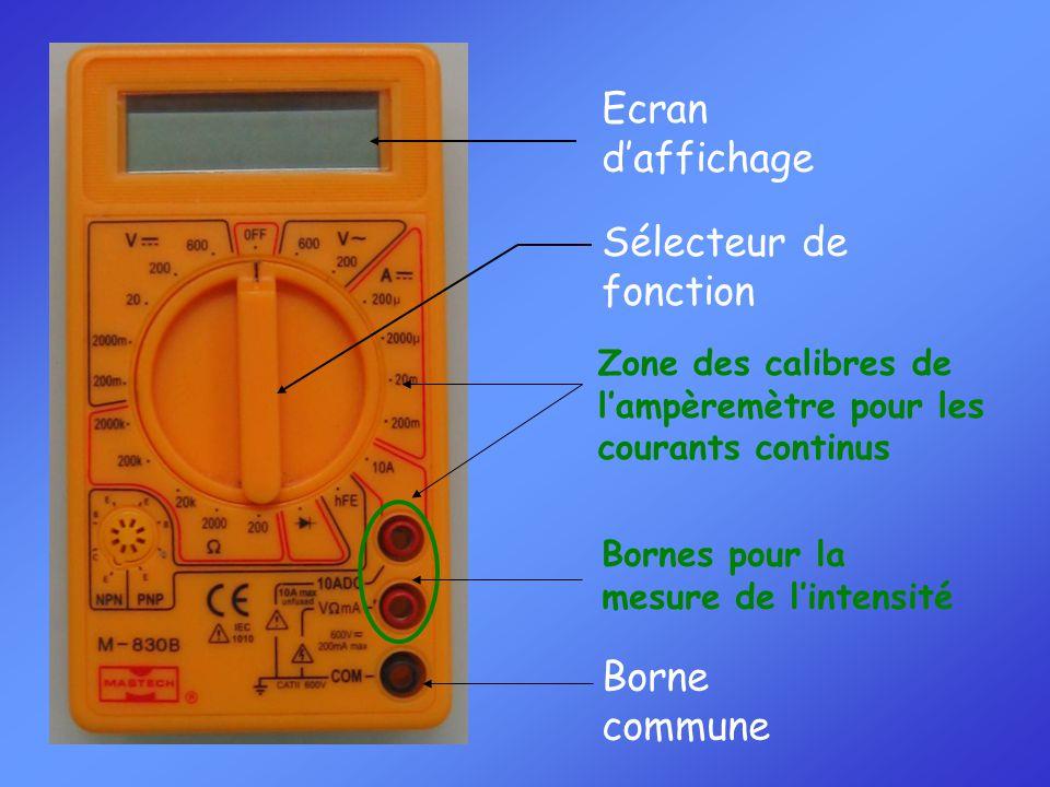 Sélecteur de fonction Zone des calibres de l'ampèremètre pour les courants continus Borne commune Bornes pour la mesure de l'intensité Ecran d'affichage