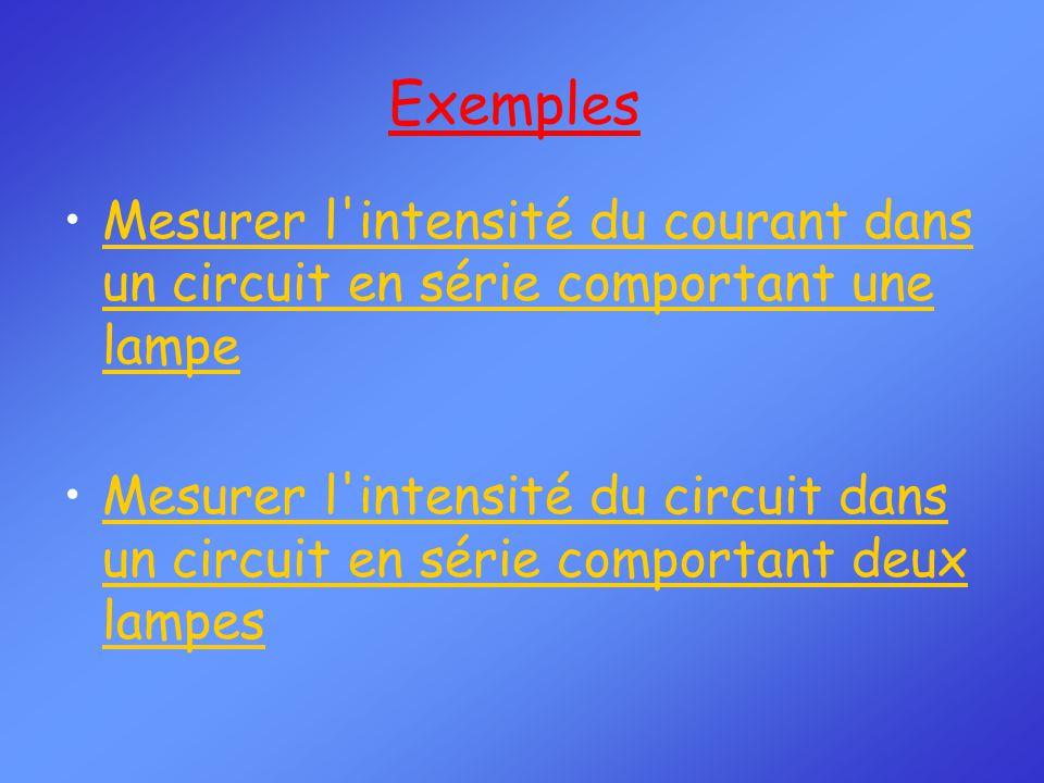Mesurer l intensité du courant dans un circuit en série comportant une lampeMesurer l intensité du courant dans un circuit en série comportant une lampe Mesurer l intensité du circuit dans un circuit en série comportant deux lampesMesurer l intensité du circuit dans un circuit en série comportant deux lampes Exemples