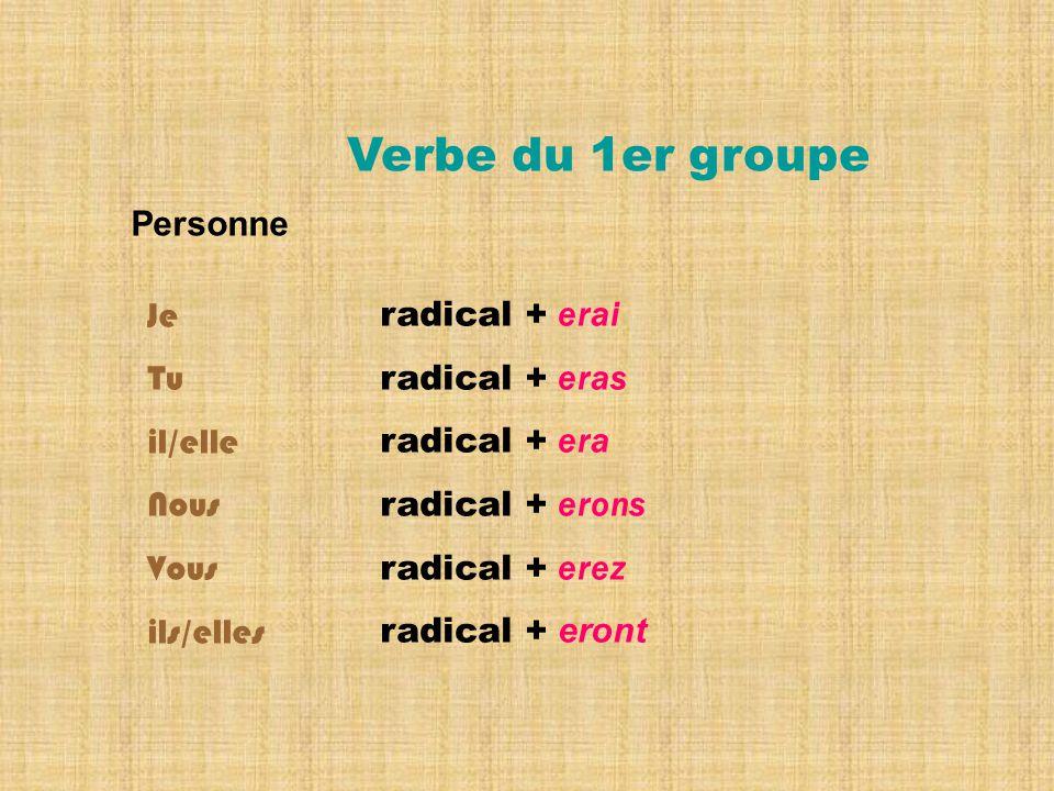 Verbe du 1er groupe Personne Je Tu il/elle Nous Vous ils/elles radical + erai radical + eras radical + era radical + erons radical + erez radical + eront