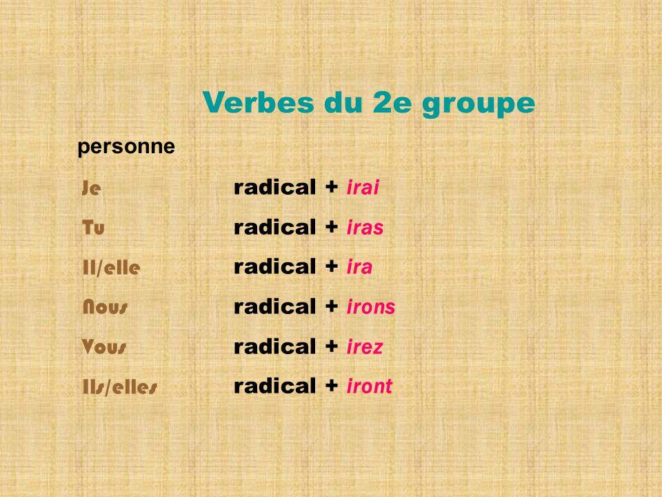 radical + irai radical + iras radical + ira radical + irons radical + irez radical + iront Verbes du 2e groupe personne Je Tu Il/elle Nous Vous Ils/elles