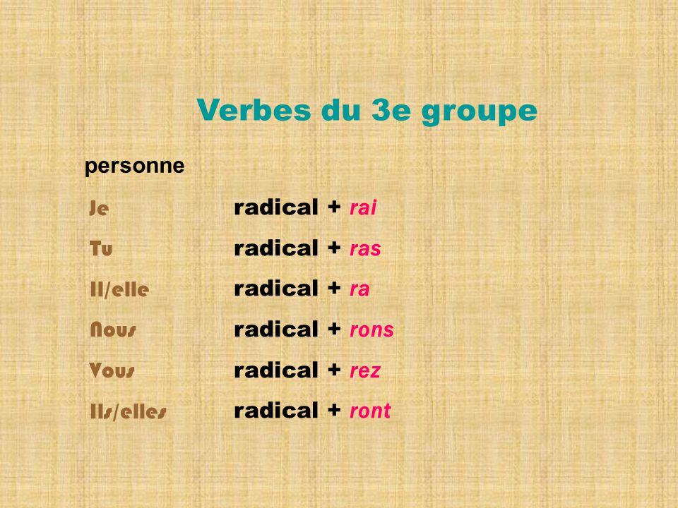 radical + rai radical + ras radical + ra radical + rons radical + rez radical + ront Verbes du 3e groupe personne Je Tu Il/elle Nous Vous Ils/elles