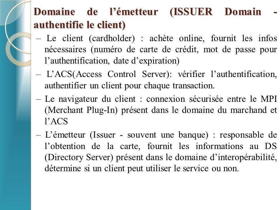 Domaine de l'émetteur (ISSUER Domain - authentifie le client) – Le client (cardholder) : achète online, fournit les infos nécessaires (numéro de carte