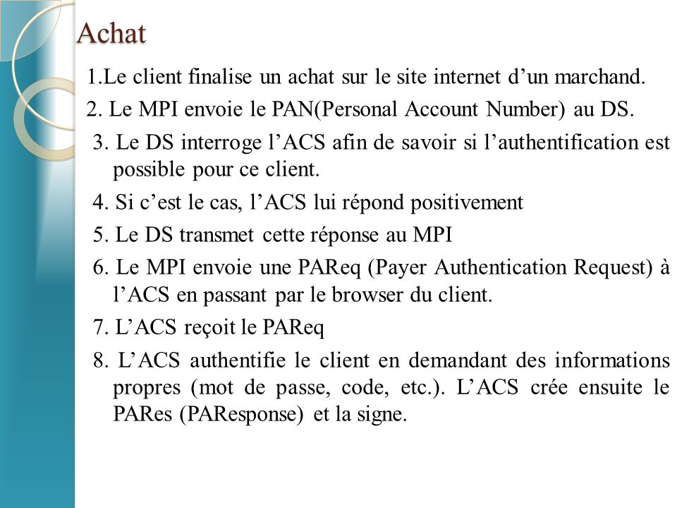Achat 1.Le client finalise un achat sur le site internet d'un marchand. 2. Le MPI envoie le PAN(Personal Account Number) au DS. 3. Le DS interroge l'A