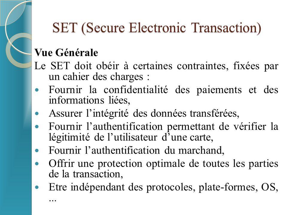 SET (Secure Electronic Transaction) Entités intervenantes Cardholder : consommateur Merchant : marchand Issuer : fournisseur (banque de l'acheteur) Acquirer: acquéreur (banque du marchand) Payment gateway (passerelle de paiement) Certification authority: autorité de certification