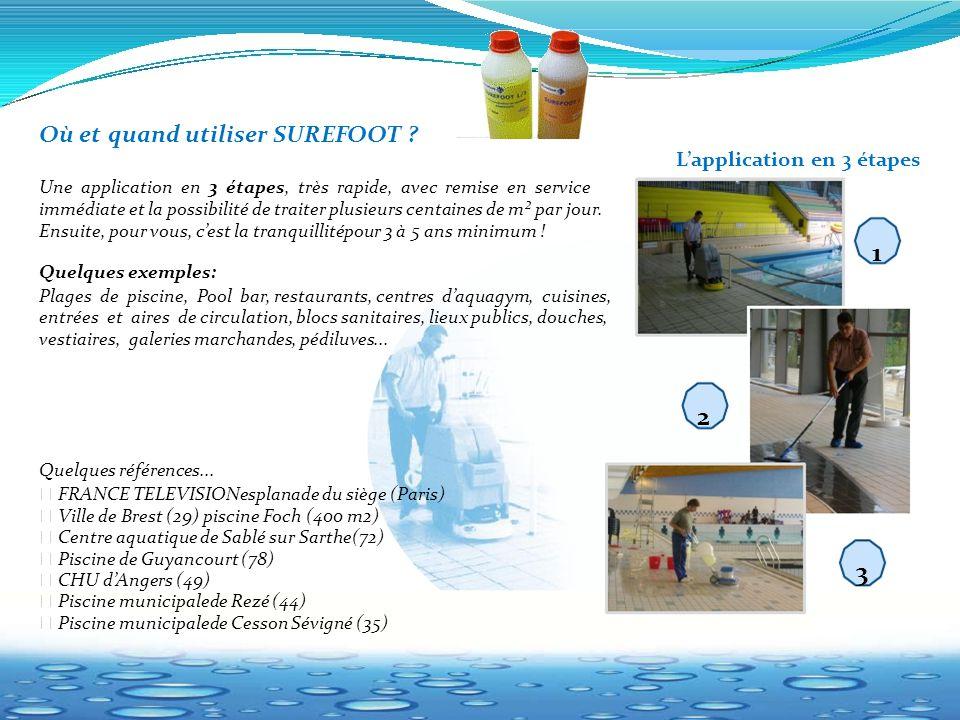 L'application en 3 étapes 1 2 3 Où et quand utiliser SUREFOOT ? Une application en 3 étapes, très rapide, avec remise en service immédiate et la possi