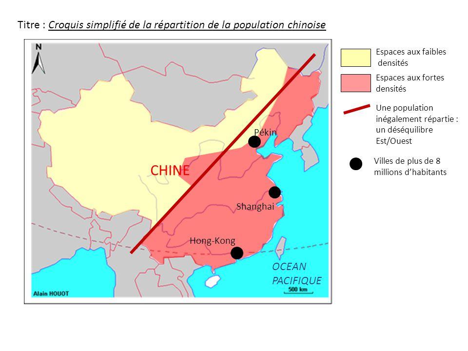 Shanghai Hong-Kong Pékin CHINE OCEAN PACIFIQUE Titre : Croquis simplifié de la répartition de la population chinoise Espaces aux faibles densités Espa