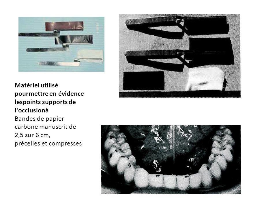Matériel utilisé pourmettre en évidence lespoints supports de l'occlusionà Bandes de papier carbone manuscrit de 2,5 sur 6 cm, précelles et compresses