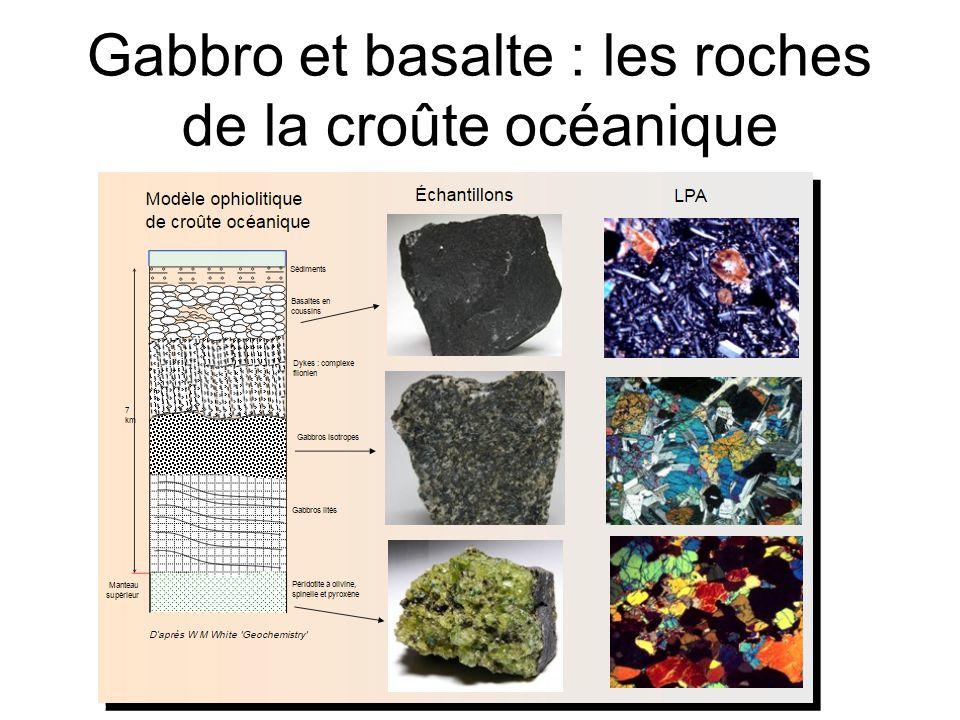 Basalte observé en LPA Microlites de plagioclase Pyroxène olivine Lame mince, x 100 Structure hémicristalline Structure microgrenue