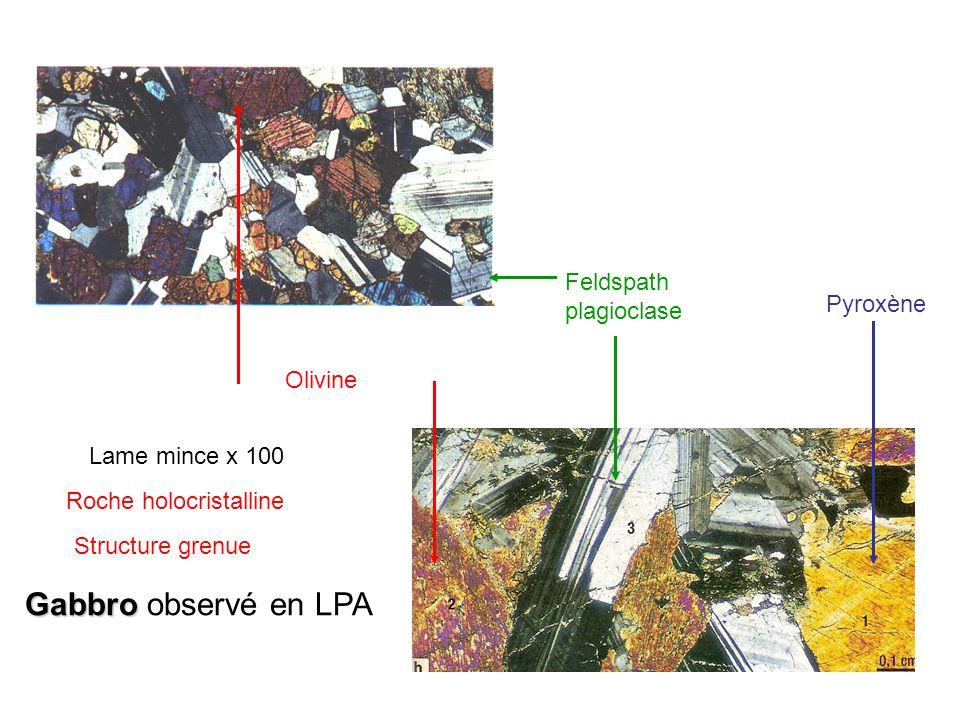 Gabbro Gabbro observé en LPA Olivine Feldspath plagioclase Pyroxène Lame mince x 100 Roche holocristalline Structure grenue