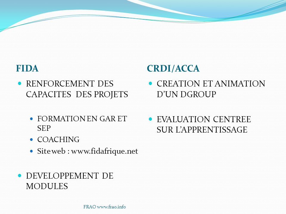 FIDA CRDI/ACCA RENFORCEMENT DES CAPACITES DES PROJETS FORMATION EN GAR ET SEP COACHING Site web : www.fidafrique.net DEVELOPPEMENT DE MODULES CREATION ET ANIMATION DUN DGROUP EVALUATION CENTREE SUR LAPPRENTISSAGE FRAO www.frao.info