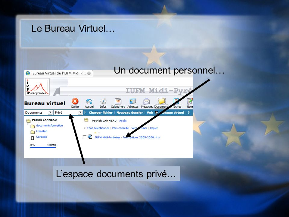 Le Bureau Virtuel… Un document personnel… Lespace documents privé…